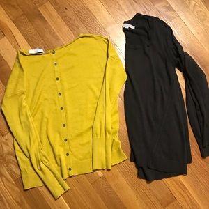 Bundle of 2 loft sweaters charcoal black & mustard